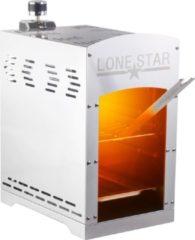 Zilveren Lone Star Hoge temperatuur grill / gasbarbecue 'beefmaker' tafelmodel - 800 graden celcius - roestvrij edelstaal - 42x40x22 Lonestar