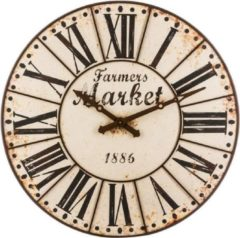 Bruine Vintage Wandklok LOFT XXL 118 CM ( mandee.nl )