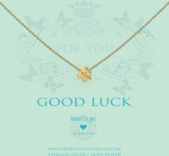 Heart to get N17CLO11G Ketting Clover Good Luck zilver goudkleurig