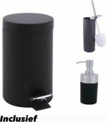 MAllA Pedaalemmer set / incl wc borstel en zeepdispenser / mat zwart / metaal / prullenbak / 3 L / 3 liter / 19 x 16 x 24,5 cm / badkamer / toilet / kantoor / slaapkamer / keuken