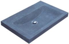 Antraciet-grijze Wasblad Sanilux Trend Stone 60x47x5cm Natuursteen (zonder kraangat)