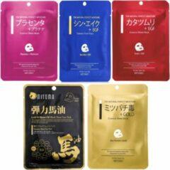 Witte Mitomo Japan Mitomo Premium Gezichtsmasker Collection 5 Stuks - Gezichtsverzorging Masker - Vermindert Rimpels en Huidveroudering - Face Mask Beauty - Sheet Mask - Skincare Rituals - Valentijn Cadeautje Vrouw
