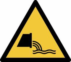 Gele Tarifold Pictogram bordje Waarschuwing: rioolwaterafvoer | 300 * 264 mm - verpakt per 2 stuks