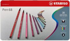 Viltstiften Stabilo pen 68 metalen doos: 30 stuks