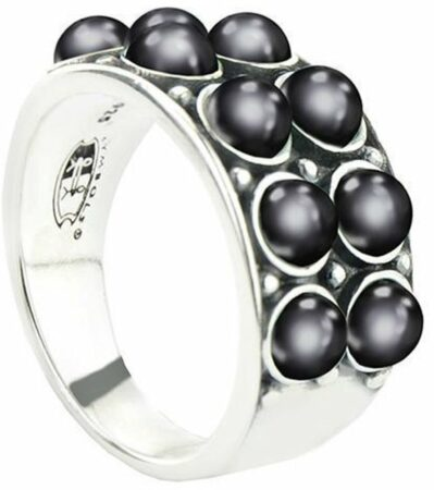 Afbeelding van Symbols 9SY 0066 56 Zilveren Ring - Maat 56 - Parel - Grijs - Geoxideerd
