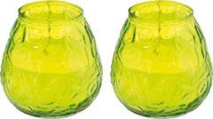 Trend Candles 2x Lichtgroene windlichten kaarsen 48 branduren - Glazen lantaarn kaars - Terraskaarsen/tuinkaarsen
