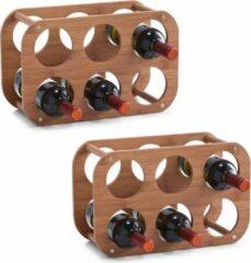Bruine 2x Houten wijnflessen rekken/wijnrekken compact voor 6 flessen 38 cm - Zeller - Keukenbenodigdheden - Woonaccessoires/decoratie - Wijnflesrekken/wijnflessenrekken/wijnrekken - Rek/houder voor wijnflessen