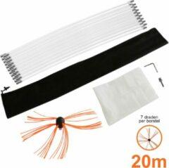 Oranje MonsterShop Maxblast Nylon elektrische schoorsteen borstel - 20 meter - schoorsteenveger - roterende booraandrijving - GRATIS stofzeil en opbergzak