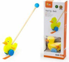 Viga Toys houten stokroller eend 56 cm geel