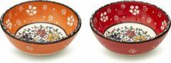 Rode Spark-Usmer Handgemaakt Medium Keramische Kommetjes set van 2 - Snackkommen voor pepernoten, tapas, dessert, noten, olijven, sojasaus, dipschaaltjes, sushi-ingrediënten, salade - Kleurrijke Decoratieve Schaaltjes voor uw Tafel – Smoothiekom