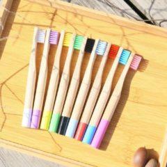 Naturelkleurige Bamboe tandenborstel zachte haren van kinderen - Misomada X2 STUKJES