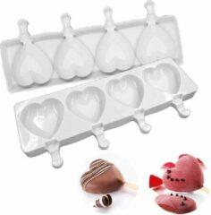 MTCE Siliconen Hart ijslolly mold - Mallen - Bakvormen - Siliconen Hart - Hart Magnum - Magnum Pop - Cakeboxen - GROOT - Kleur WIT