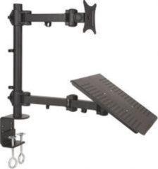 Zwarte ABC-Led Monitorbeugel 1 Scherm 13 tot 27 inch met Laptop Houder L-23 - Klem