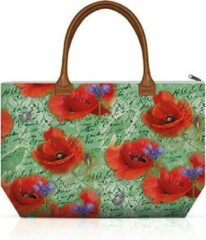 Rode Ambiente, Shopping Bag Painted Poppies groen - Shopper - Klaproos