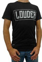 Loud and Clear LOUDER T Shirt Heren Zwart Grijs - Ronde Hals - Korte Mouw - Met Print - Met Opdruk - Maat XS