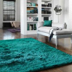 Eazy Living Easy Living - Whisper-Dark-Teal Vloerkleed - 65x135 cm - Rechthoekig - Laagpolig, Shaggy Tapijt - Klassiek, Modern - Blauw, Groen