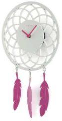 NeXtime Dreamcatcher - Klok - Stil uurwerk - Langwerpig - Hout - 41 x24 cm - Wit / Roze