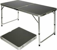 Grijze AMANKA Inklapbare stabiele kampeertafel 120x60x70cm in hoogte verstelbare draagbare kofferformaat aluminium