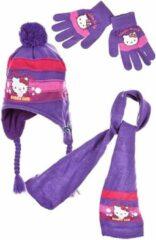 "Hello Kitty Winterset - Model ""Bubble Gum"" - Peruviaanse Muts, Sjaal & Handschoenen - Paars - 52 cm - Polyacryl"