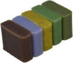 La Maison du Savon de  Marseille Soap bar set - handzeep savon de Marseille Vanille+Lavandel+Citroen scrub+ Huile d'olive+ Verveine 5x30 gr.