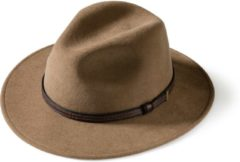 MGO Leisure Wear MGO Wood Country Western Hat - Wollen hoed met leren rand - Maat 57 - Lichtbruin