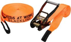Kids At Work slackline 17,5 meter polyester oranje