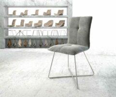 Zilveren DELIFE Stoel Maddy-Flex X-frame roestvrij staal fluweel grijs