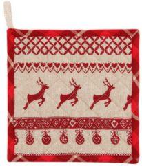 Pannenlap   20*20 cm   Rood   100% Katoen   vierkant   kerst   Clayre & Eef   NOC45-1