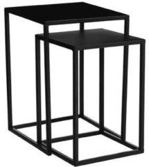 Edelman Montfoort Mica Decorations goa bijzettafel zwart set van 2 grootste maat in cm: 30 x 30 x 42 Zwart