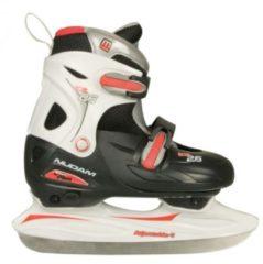 Zwarte Nijdam 0026 Junior IJshockeyschaats - Verstelbaar - Hardboot - Zwart/Wit - Maat 27-30