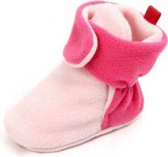 Jodeledokie Roze babysloffen - Katoen - Maat 18 - Zachte zool - 0 tot 6 maanden
