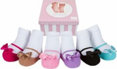 Fuchsia Baby Emporio Festives: doos met 6 paar sokjes voor baby meisje 12-24 maanden. Satijnen strikjes -Anti slip zooltjes-Cadeau doos
