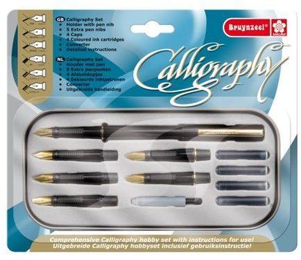 Afbeelding van Bruynzeel Kalligrafieset luxe kalligrafieset, 14-delig, inhoud: houder met pen, 5 extra penpunten, 4 a...