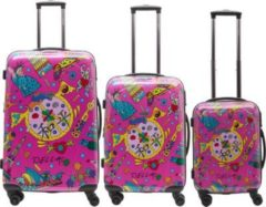 Rosa Packenger Hartschalentrolley Set mit 4 Rollen (3-tlg.), »OneWorld by Della«