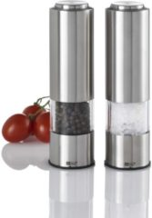 Zilveren AdHoc Peper en Zoutmolen Set Elektrisch Incl). LED verlichting (2-Delig)