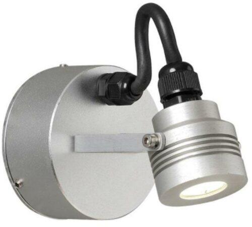 Afbeelding van Konstsmide Buitenlamp 'Monza' Wandspot 4,5cm, PowerLED 1 x 1W / 230V, kleur Aluminium