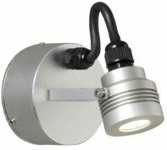 Konstsmide Buitenlamp 'Monza' Wandspot 4,5cm, PowerLED 1 x 1W / 230V, kleur Aluminium