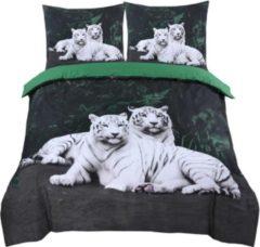 Cotton Club Dekbedovertrek Tiger Love Zwart|Wit- Tweepersoons -200x200/220cm + 2 kussenslopen 60x70cm