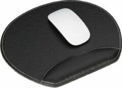 Relaxdays muismat - met polssteun - ergonomisch - rond - mousepad - kunstleer - computer zwart