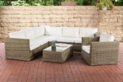 CLP Polyrattan-Lounge TIBERA mit Stauraum Gartenset bestehend aus einem Ecksofa, einem Sessel und einem Beistelltisch Sitzgruppe für 7 Personen In