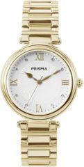 Prisma P.1452 horloge met Zwitsers Uurwerk staal goudkleurig 34 mm
