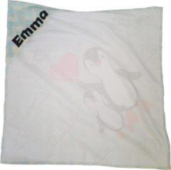 Fotodekbed.nl Baby badcape met capuchon – wikkeldeken – badstof – handdoek – gepersonaliseerd kraamcadeau – babycadeau met naam – uniek kado – babykado – pinguïn
