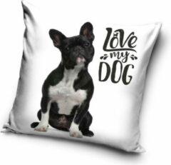 Witte Carbotex Love my Dog - Sierkussen - Kussen 40 x 40 cm incl vulling