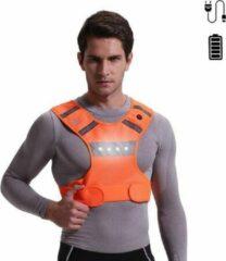 Wolfco LED Hardloopvest – Running Vest – LED – Fluohesje – Veiligheidshesje - Reflectievest – Oranje – USB – Oplaadbaar – Hardloopaccessoires – Verlichting – Maat S/M/L