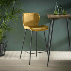 LifestyleFurn Barstoel 'Gael' Velvet, kleur Goud (zithoogte 67cm)