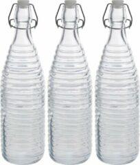 Zeller 3x Glazen flessen transparant strepen met beugeldop 1000 ml - Keukenbenodigdheden - Woondecoratie - Tafel dekken - Koude dranken serveren/bewaren - Olie/azijn flessen - Decoratie flessen