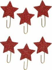 Creotime Paperclips Sterren Glitter Rood 30 Mm 6 Stuks