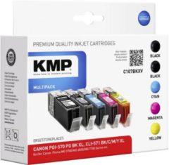 KMP Inkt vervangt Canon PGI-570 XL, CLI-571 XL Compatibel Combipack Zwart, Foto zwart, Cyaan, Magenta, Geel C107BKXV 1569,0050