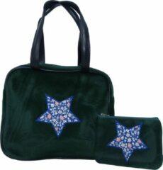 Jessidress Stoere Handtas van velours met portemonnee Handtasje Set - Groen