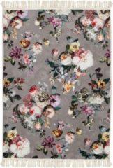 Taupe Essenza Fleur vloerkleed met bloemenprint 60 x 90 cm